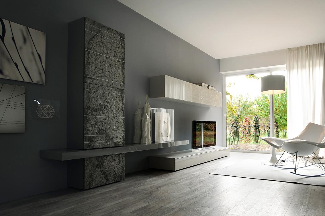 moderno zona giorno parete attrezzata arredamento napoli - Arredamento Moderno Zona Living