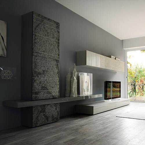 Parete In Pietra Con Cascata: Tv orientabile a parete con libreria ghost pannello in laccato.